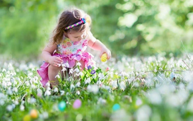 Kleines Mädchen sammelt Eier