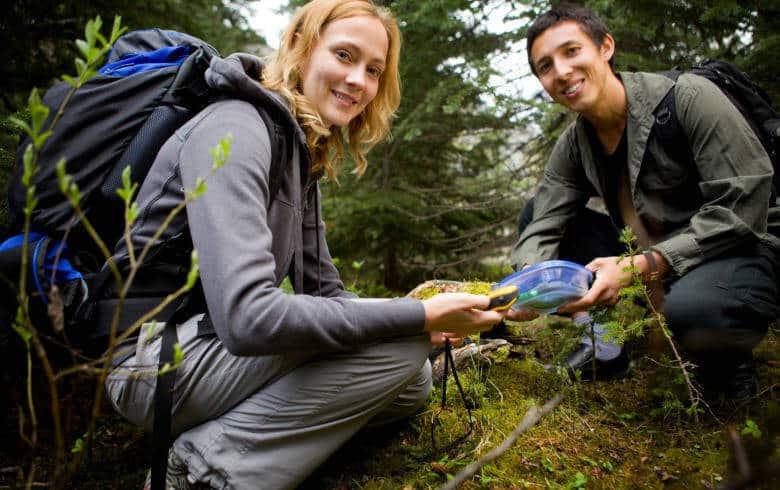 Gemeinsam im Wald beim Geocaching