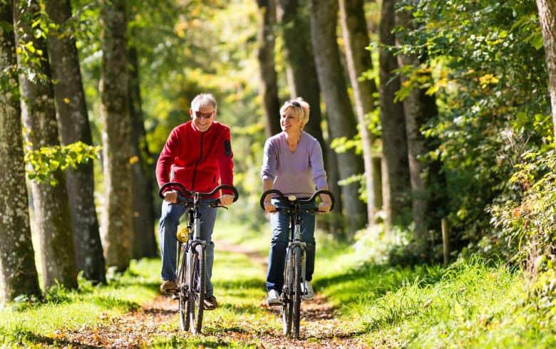 Fahrradfahrer im Wald